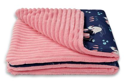 """kocyk """"Łabędź"""" różowe paski 80 x 80"""