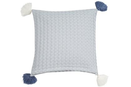poduszka  wafla duża błękitna chwosty 35 x 35