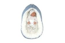 """gniazdko dla niemowlaka """"Kropki srebrne"""" niebieskie pikowane 45 x 70"""