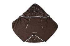 okrycie kąpielowe z kapturkiem Muślin Gwiazdki białe na czekoladzie100 x 100