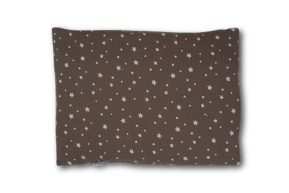 Poduszka muślin  gwiazdki białe na czekoladzie 30 x 40 cm
