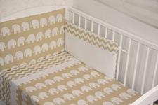 """pościel do łóżeczka """"Słonie """" Ekrii 100 x 135"""