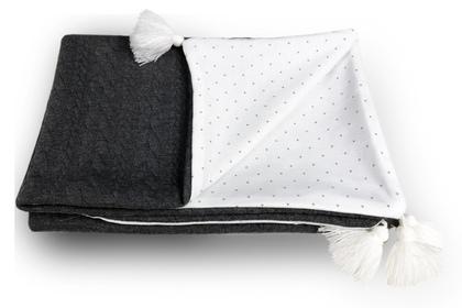 kocyk Serbrne kropeczki warkocz szary z chwostami  70 x 100 bez wypełnienia