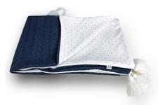 kocyk Serbrne kropeczki warkocz jeans z chwostami 70 x 100 bez wypełnienia