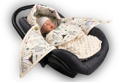 wielofunkcyjny śpiworek do fotelika TIPI/minky ekrii  80 x 80