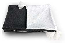 kocyk z wypełnieniem Serbrne kropeczki warkocz szary  z chwostami 70 x 100