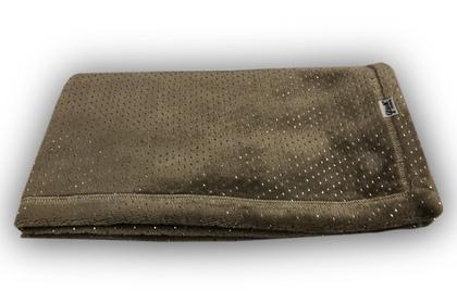 kocyk włochacz Srebrne Kropeczki czekoladowy 75 x 75