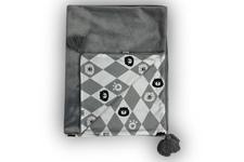 kocyk bez wypełnienia Romby minky gładkie szare 70 x 100 cm