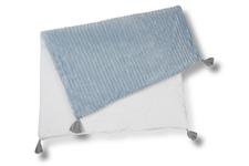 kocyk Kropki  Srebrne minky paski niebieskie 70 x 100 cm z chwostami