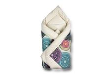 "rożek wiązany ""Mandala kolorowa"" velvet ekrii 80 x 80"