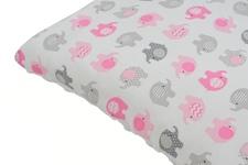 """poduszka dziecięca  """"Słoniki"""" różowe minky białe   35 x 35"""