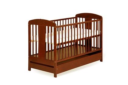 """łóżeczko dziecięce """"Radek VIII"""" Orzech z szufladą"""
