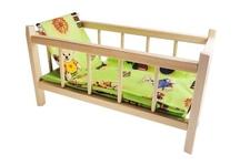 ZESTAW - drewniane łóżeczko dla lalek wraz z 3 częściową pościelą