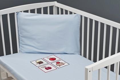 """haftowana pościel dziecięca 3 cz. """"Jeżyki"""" niebieskie 100 x 135"""