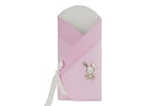 """rożek wiązany """"Zając i Gromadka"""" różowy 80 x 80"""